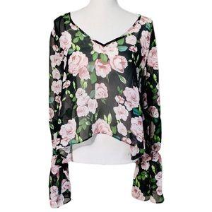 🌟SALE🌟 Forever 21 Floral Rose Print Sheer Blouse